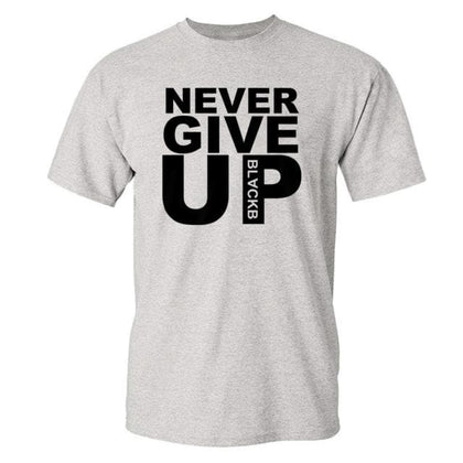 Men's Fashion Never Give Up Printed Liverpool MO Salah quoted T-shirt - Go Buy Dubai