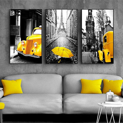 Nordic Canvas Painting Retro European City Scenery Picture Home Decor Wall Art Yellow Car Balloon Posters and Prints for Bedroom - Go Buy Dubai