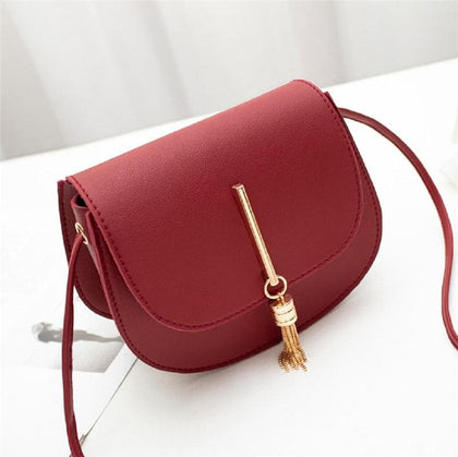 Women Fashion PU Leather Solid Hasp Shoulder Messenger Bags Lady Mini Fringe Tassels Shell Handbags Gift New - Go Buy Dubai