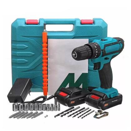 ALLSOME 32V 2 Speed Power Drills 6000mah Cordless Drill 3 IN1 Electric Screwdriver Hammer Hand Drill 2 Batteries HT2785 - Go Buy Dubai