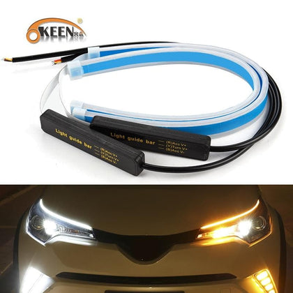 OKEEN 2x Ultrafine Cars DRL LED Daytime Running Lights White Turn Signal Yellow Guide Strip for Headlight Assembly Drop Shipping - Go Buy Dubai