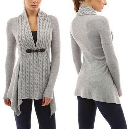 Women Knitted Long Sleeve Jumper Sweater Cardigan Wrap Cowl Neck Shawl Tops Coat - Go Buy Dubai