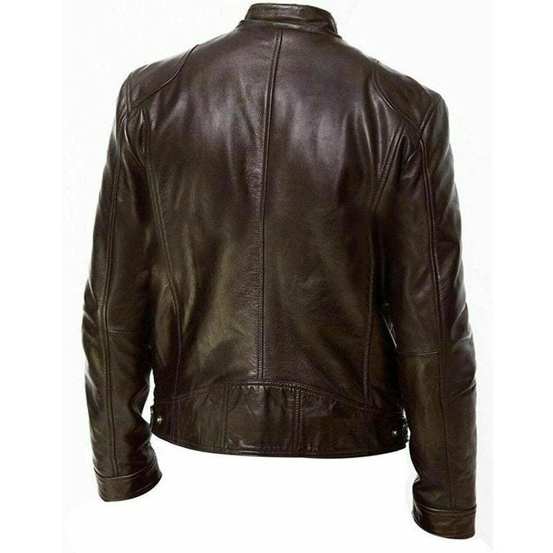 Men's Winter Warm Leather Jacket Slim Fit Biker Zip Jacket