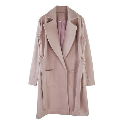 Long Women's coat lapel 2 pockets belted Jackets solid color coats Female Outerwear - Go Buy Dubai