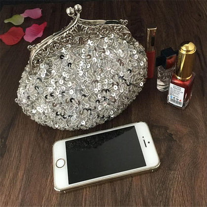 2020 New arrival Clutch Purse Silver Crystal Evening Bag Women Wedding Diamantes Party Bridal Handbags Gold Sky Blue WY06 - Go Buy Dubai
