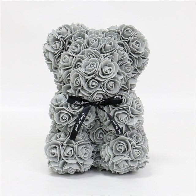 DIY 25 cm teddy rose bear with box artificial PE flower bear rose Valentine's Day for girlfriend women wife mother's day gift