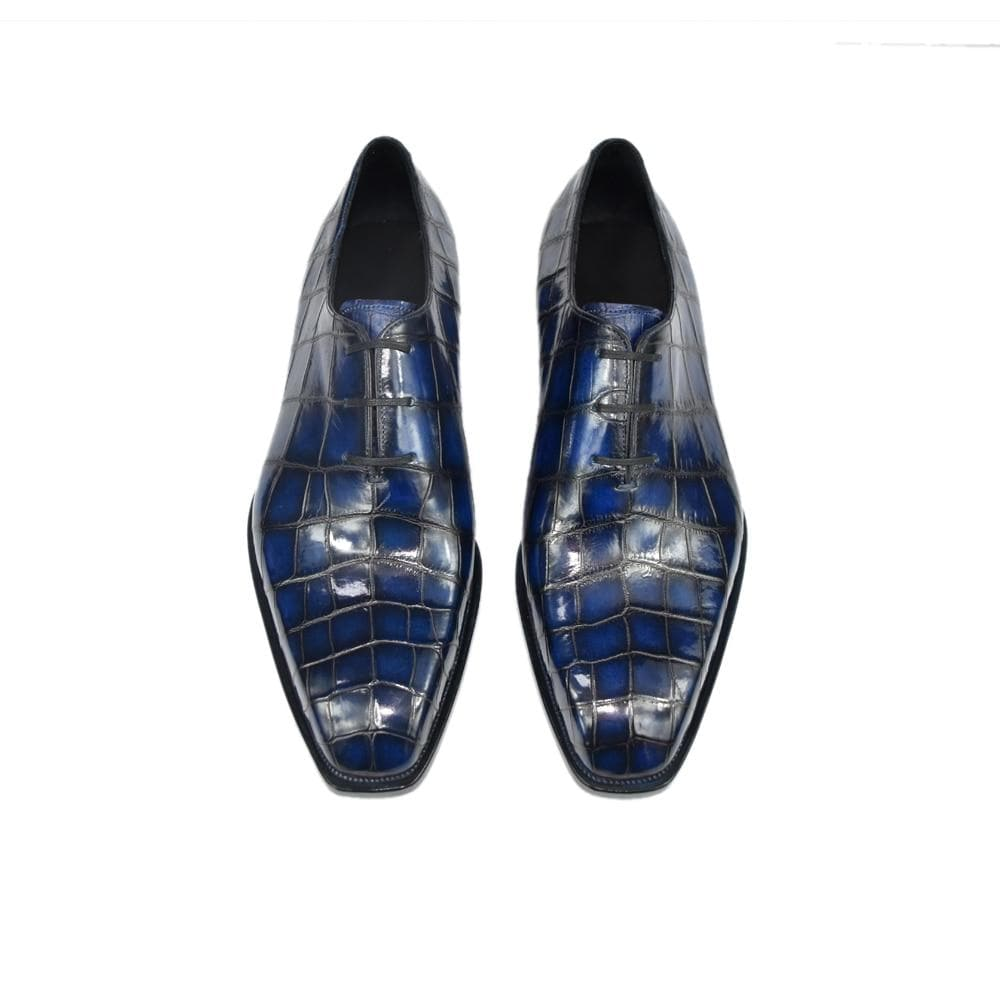 Men's Fashion Vintage Crocodile Leather Pattern Handmade Retro Round Toe Formal Shoes