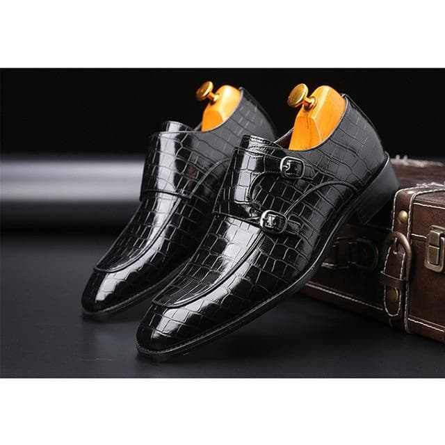 New Arrival Men's Fashion Classic Crocodile Pattern Genuine Leather Business Pointed Toe Formal Buckle Strap Shoes