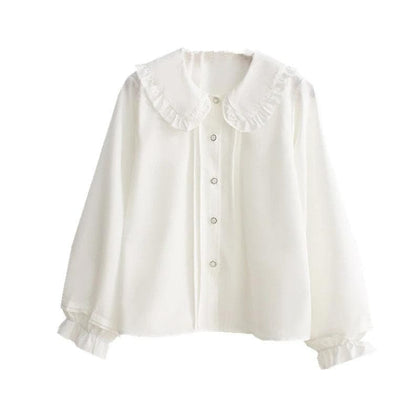 women white blouse long sleeve cotton tops and blouses - Go Buy Dubai