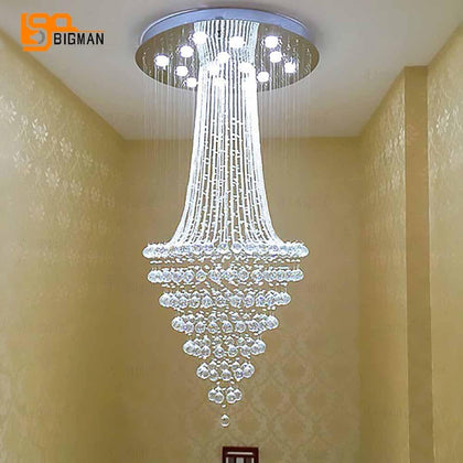 round design modern crystal chandelier LED light AC110 220V luxury crystal ceiling chandelier home lighting - Go Buy Dubai