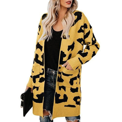 Casual Leopard Sweater Cardigan Women Autumn Long Knitted Cardigans Female Coat - Go Buy Dubai