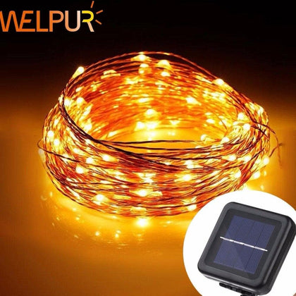 LED Solar String  Fairy Light Christmas Lights 10M 5M 50 100 LED Copper Wire Xmas Wedding Party Decor Lamp - Go Buy Dubai