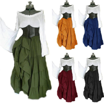 2020 New Halloween Women Medieval Cosplay Costumes Gothic Retro Victoria Middle Ages Carnival Long Sleeve Pleated Corset Dress - Go Buy Dubai