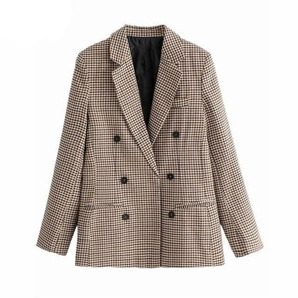 Women Plaid Blazers and Jackets Work Office Lady Suit Slim Double Breasted Business Female Blazer - Go Buy Dubai