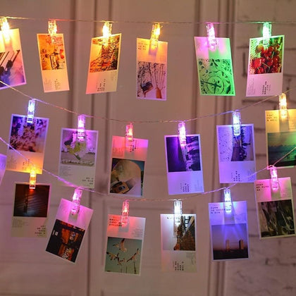 Photo Clip Holder LED String lights LED Card Picture Photo Clips Pegs Bright String Light Wedding Party Valentine's Day - Go Buy Dubai