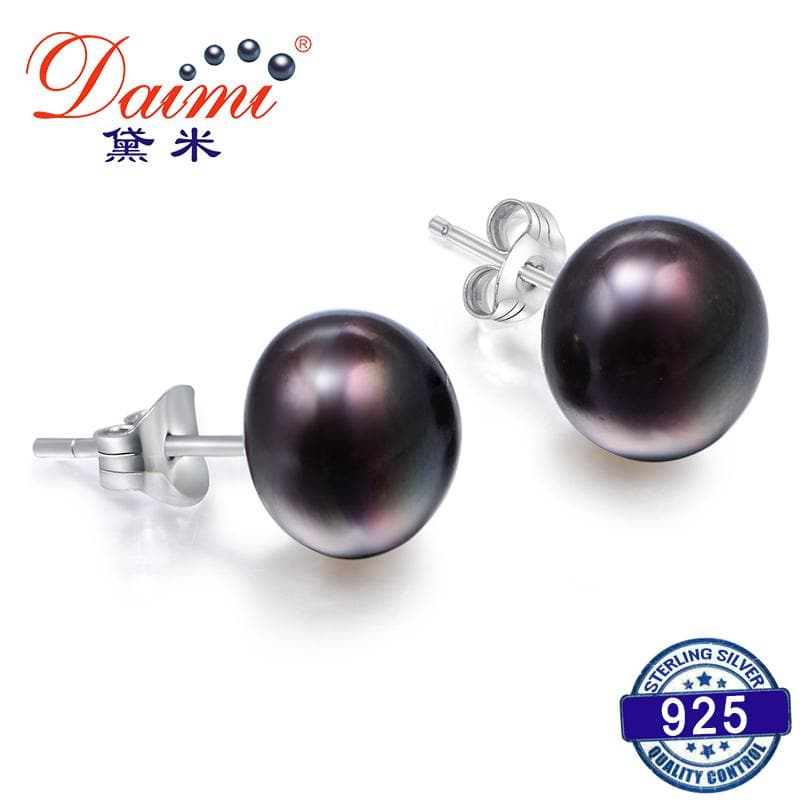 Black Pearl Studs Earrings Jewelry Exquisite Pearl Earrings For Women Gift