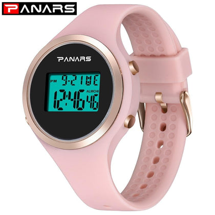 PANARS Relogio Feiminino Digital Waterproof Electronic Sports Watch For Women Fitness Rubber silica gelwatch Lady LED Candy Pin - Go Buy Dubai