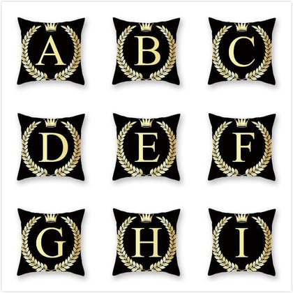 Hot Selling Pillow cover Pyrotechnic Black gold Alphabet Luxury Printing Square Zippered Pillow Sham Personalized Pillowcases - Go Buy Dubai