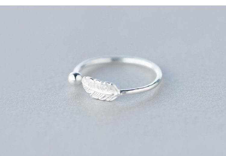 Sterling Silver Simple Feather Rings For Women Wedding Statement Finger Ring