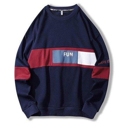 SingleRoad Oversized Crewneck Sweatshirt Men Patchwork Hip Hop Japanese Streetwear Blue Hoodie Sweatshirts Man Tracksuit Male - Go Buy Dubai