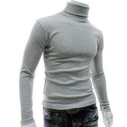 New Men Casual sweatshirt Slim Fit Long Sleeve Pullover Homme Turtleneck Stretch Slim Basic Sweatshirts Top - Go Buy Dubai