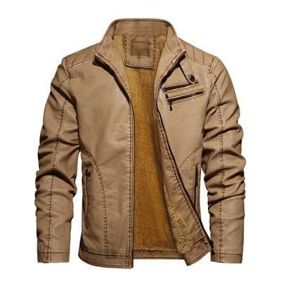 New Men's 2020 Leather Warm Slim Fit Faux Leather Motorcycle Jackets - Go Buy Dubai