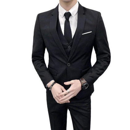 Men Wedding Suit Slim Fit For Men | Business Formal Party Classic Black - Go Buy Dubai