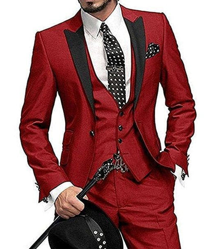 Latest Design | One Button Wine Groom Tuxedos Lapel - Go Buy Dubai