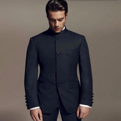 Latest Designs Bruce Lee Style black Mandarin collar Men Wedding suits Dinner Suit - Go Buy Dubai