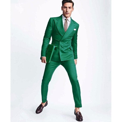 The latest double-breasted men's suit pantsuit green men's banquet slim suit two-pieces - Go Buy Dubai
