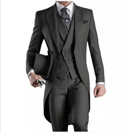 Latest Design One Button Dark Grey 2020. Lapel Groomsmen Men Wedding Prom Suits - Go Buy Dubai