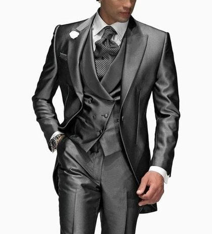 2020 Latest Design One Button Shiny Gray Lapel Groomsmen - Go Buy Dubai