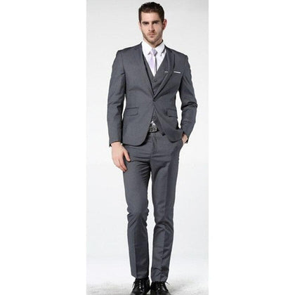2020 Latest Coat Pant Designs Men Gray Suits For wedding One Button Slim Fit 3 Pieces - Go Buy Dubai