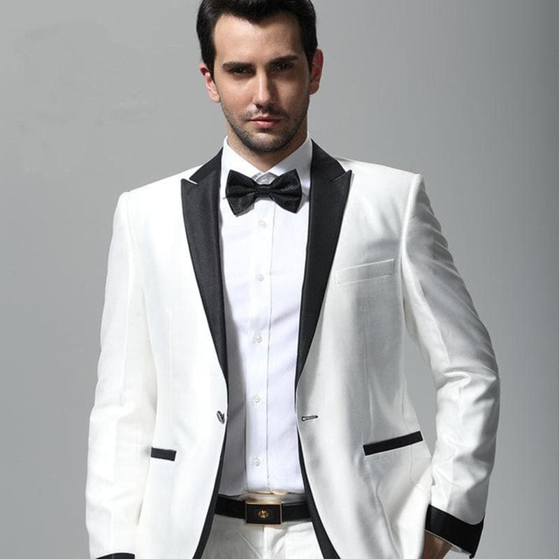Latest Coat Pant Designs White Wedding Suits for Men Slim Fit 2 Pieces