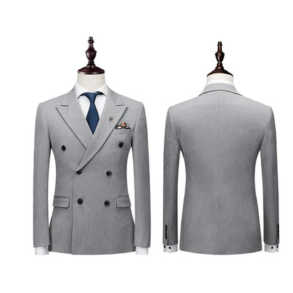 Double Breasted Latest Coat Pant Designs Suit Men Slim Fit Wedding Suits for Men Pure Black Light Grey Tuxedo(Jacket+Pants+Vest) - Go Buy Dubai