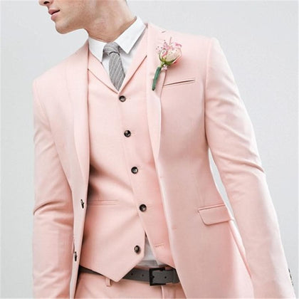 Gentlemen Style Pearl Pink Wedding Suit | Latest Design Slim Fit 3 Pieces - Go Buy Dubai