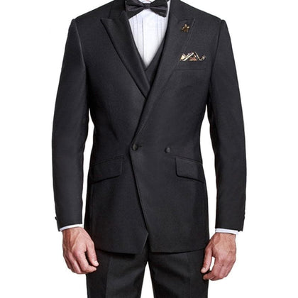 Custom Made Black Men Peaked Lapel Slim Fit Formal 3Piece Groom Tuxedo - Go Buy Dubai