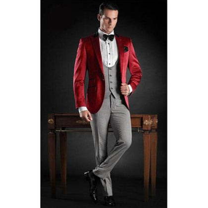 Latest Coat Red Satin Italian Formal 3 piece Men Suit Slim Fit - Go Buy Dubai