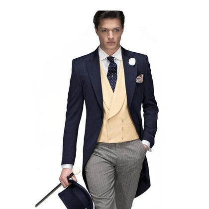 Navy blue coat Jacket sen suits 3Pieces Fashion Formal Handsome latest style high quality - Go Buy Dubai