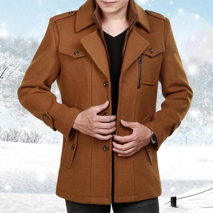 Male Long Wool Windbreaker Jacket Thick Thermal Trench Coat Long Sleeve Khaki Mens Overcoat Plus Size Winter Men Woolen Coat - Go Buy Dubai