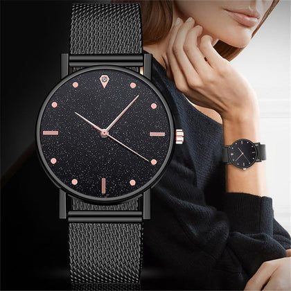 Cusual Ladies Watch Romantic Starry Sky Dial Women's Quartz Wristwatch Fashion Mesh Watch Gift Clock Droshipping Reloj Mujer@50 - Go Buy Dubai