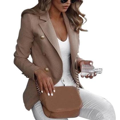 Top Women blazers Casual Long Sleeve Solid Color Turn-down Collar Coat - Go Buy Dubai