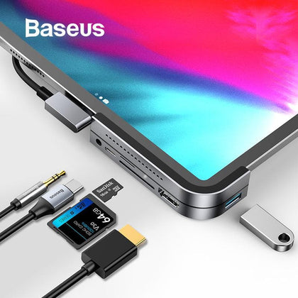 Baseus USB C HUB to USB 3.0 HDMI USB HUB for iPad Pro Type C HUB for MacBook Pro Docking Station Multi 6 USB Ports Type-C HUB - Go Buy Dubai