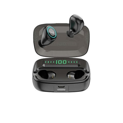 Simvict W5 TWS 5.0 Bluetooth Earphones In-ear Earbuds Wireless Headphone Stereo Bass Headset LED Phone Holder 2800mAh Power Bank - Go Buy Dubai