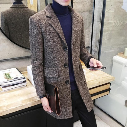 Autumn Winter Long Trench Men's Slim Fashion Woolen Coat Jacket Men's Suit Collar New Casual Trench Woolen Coat Size M-2XL - Go Buy Dubai