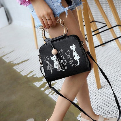 Famous Design Cat Pattern Crossbody Bag Women Tassel PU Leather Messenger Bags Female Cute Handbag Sac A Main #T5P - Go Buy Dubai