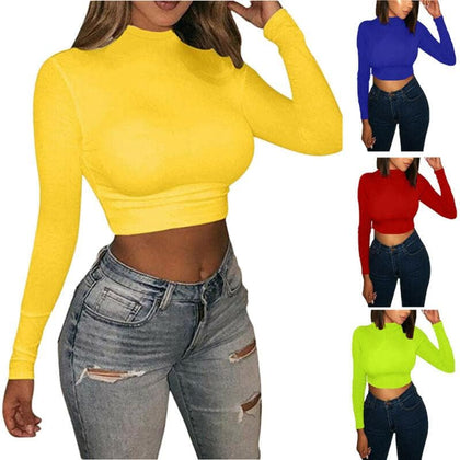 Fashion Bodycon Slim Fit tshirt Women Solid Turtle Neck Long Sleeve Crop Top Solid Red Blue Yellow Pullover Casual Top New - Go Buy Dubai