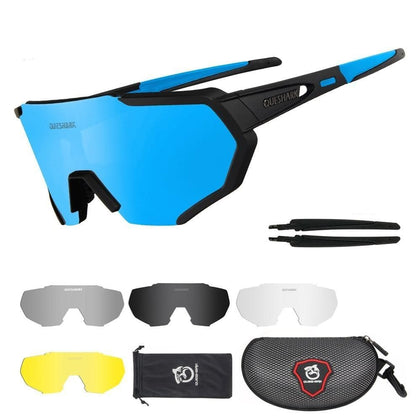 QUESHARK New Design Polarized Cycling Glasses For Man Women Bike Eyewear Cycling Sunglasses 5 Lens Mirrored UV400 Goggles - Go Buy Dubai