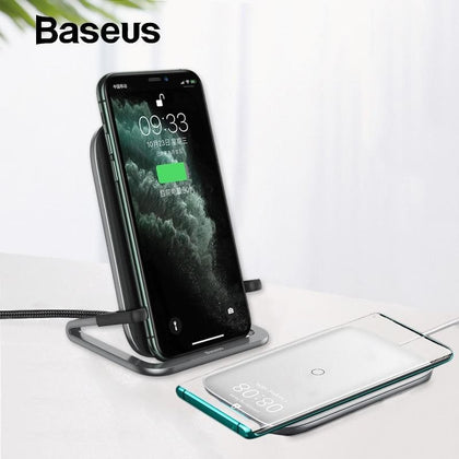 Baseus 15W Qi Wireless Charger Stand for iPhone 11 Pro X XS Samsung S10 S9 S8 Fast Wireless Charging Station with Holder - Go Buy Dubai