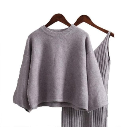 LANMREM Sweater Woman Pullover Long Sleeve Ladies Pullover Knit Top + High Waist Knit Sling 2020 Autumn Winter New Color QK368 - Go Buy Dubai